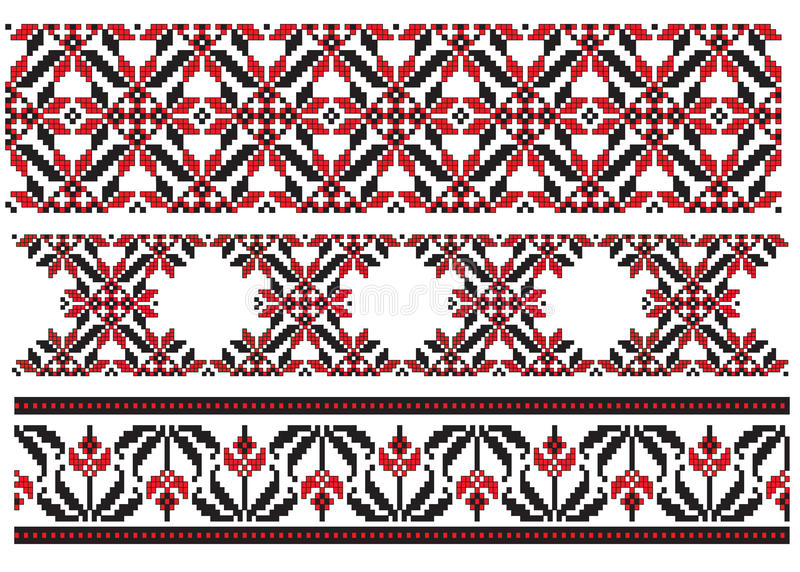 Three element embroider ukrainian. There is a scheme of ukrainian pattern for embroidery stock illustration