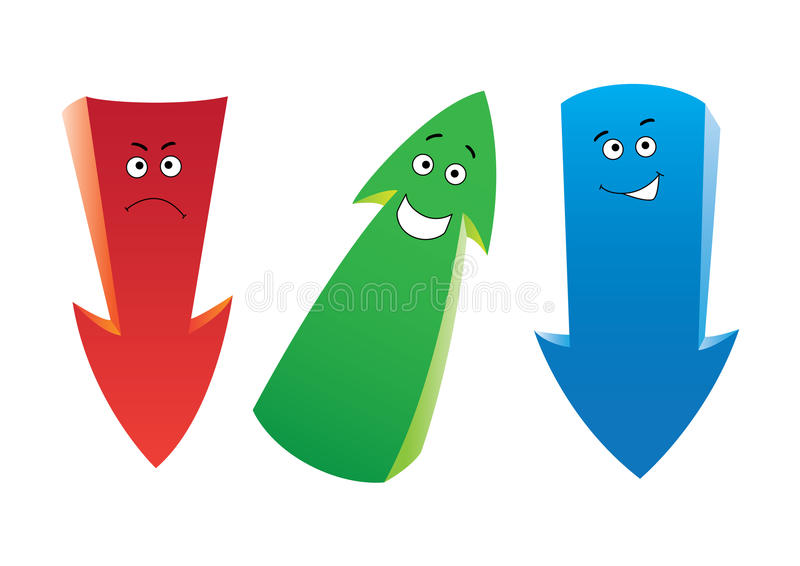 Download Three emotion arrows stock vector. Image of character - 19075143