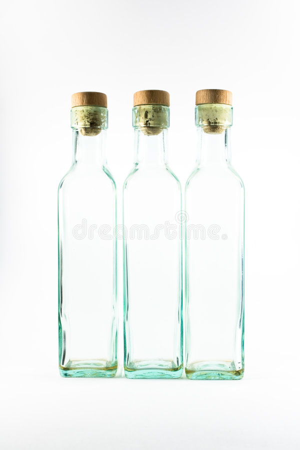 Three empty bottles isoladed royalty free stock photo