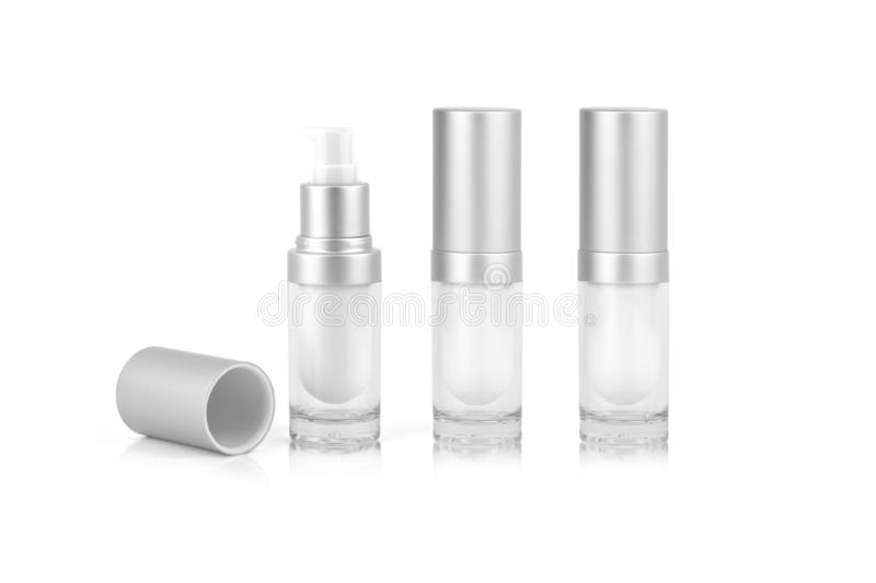 Three empty container cream pump bottle for cosmetic, mock up isolated on white floor and white background with clipping path. stock photography