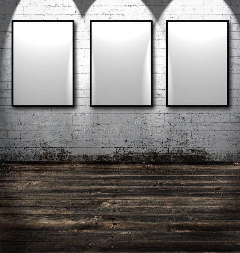 Three empty frames stock photos