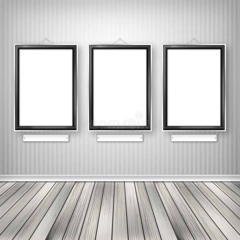 Three Empty Frames On A Wall Stock Illustration - Illustration of ...