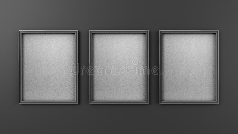 Three Empty modern art frame mockup on grew wall 3d render stock illustration