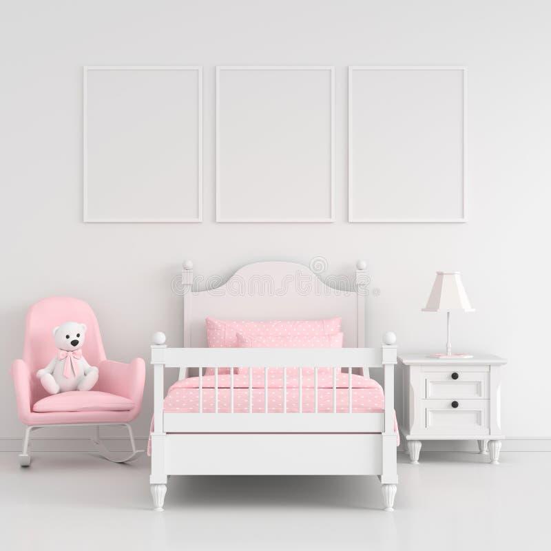 Three empty photo frame for mockup in white child bedroom, 3D rendering vector illustration