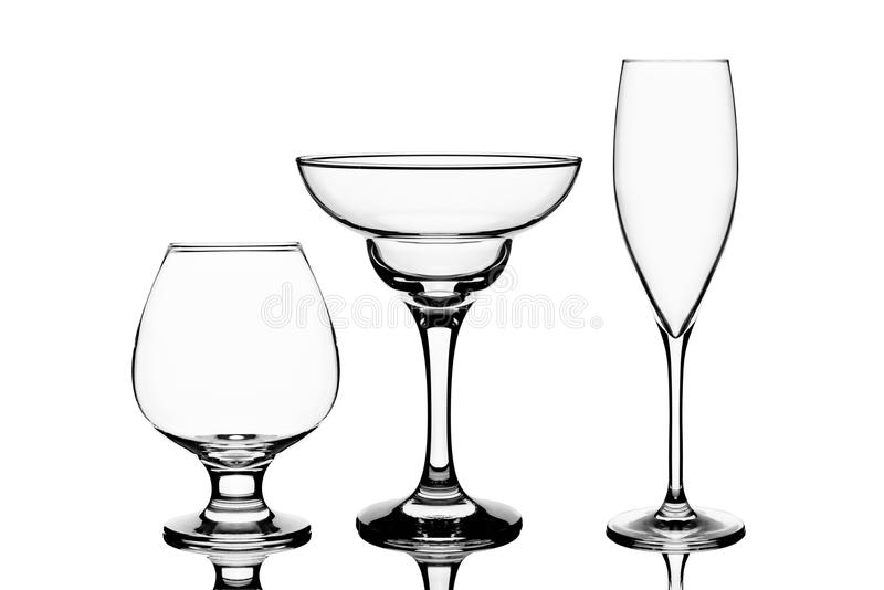 Three empty wine glasses royalty free stock photo