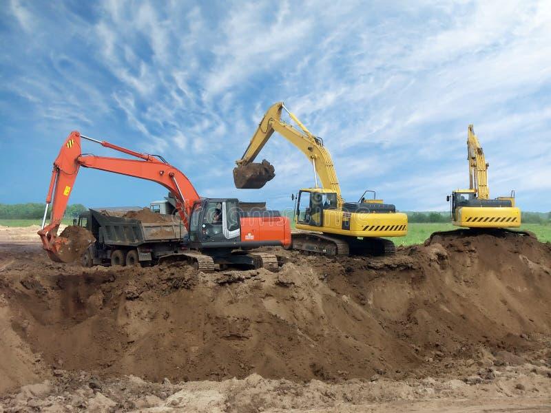 Download Three Excavators stock image. Image of digging, activity - 2608169
