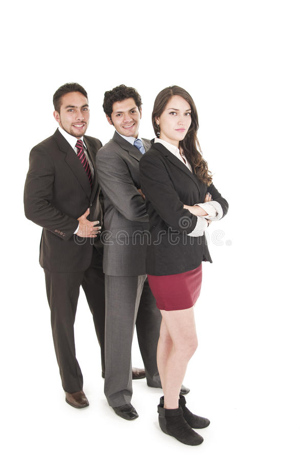 Three executives posing isolated on white. Three executives posing side view full body isolated on white royalty free stock photography