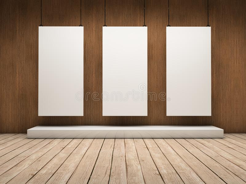 Three exhibitor. White empty exhibitor board hang in a room with beautiful light vector illustration