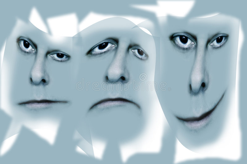 Three faces on grey stock image