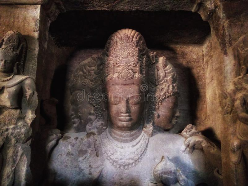 Three Faces Statue, known as Trimurti. stock images