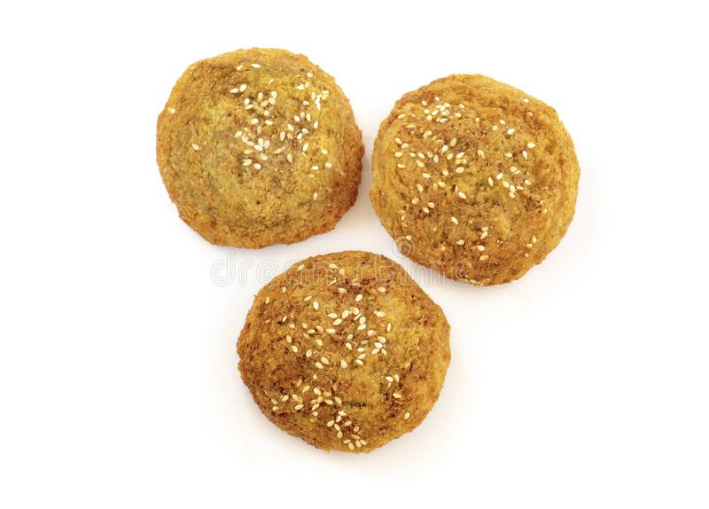 A Group of Three Fresh Falafel Balls royalty free stock image