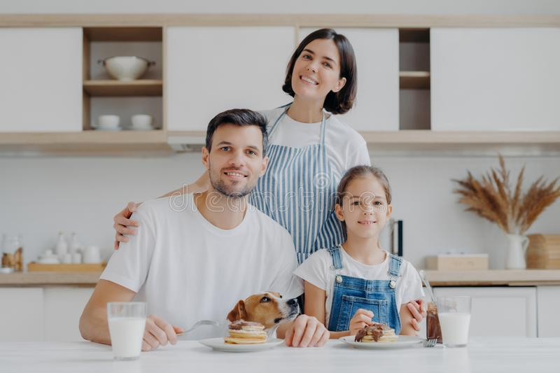 Three family member and their pet pose all together at kitchen, eat sweet pancakes with chocolate, drink milk, affectionate royalty free stock images