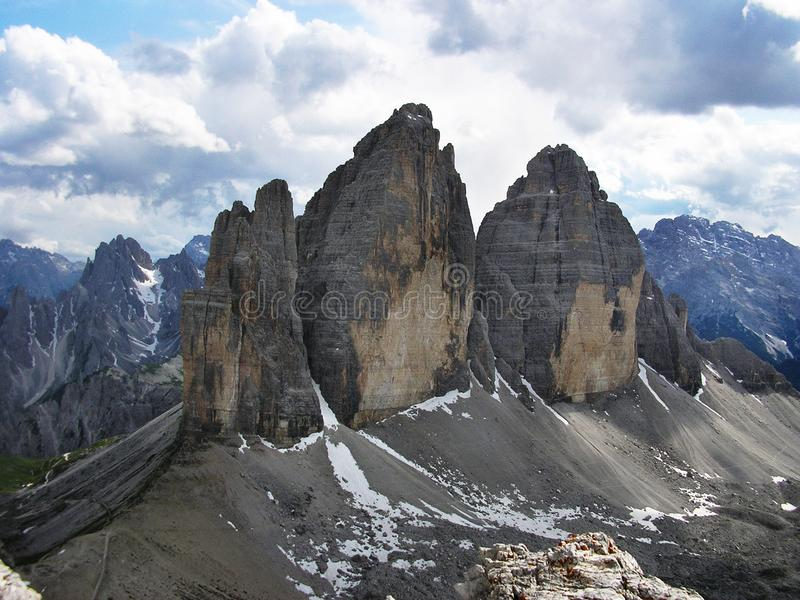 Three Famous Big Rocks Called Tre Cime di Lavaredo, Situated in Dolomits, Italia. The Rock from Left to the Right: Cima Piccola L. Ittle Peak, Cima Grande Big stock images