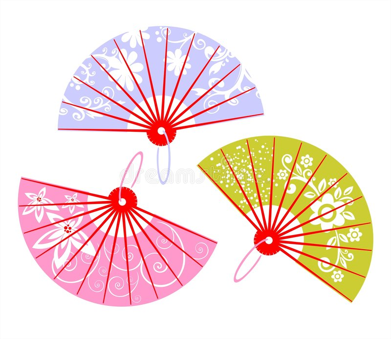 Download Three fans stock vector. Illustration of wind, cool, pink - 2779622