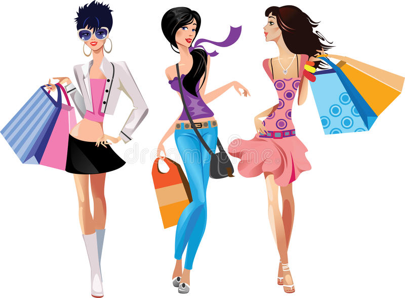 Download Three fashion girls stock vector. Image of different - 19462361