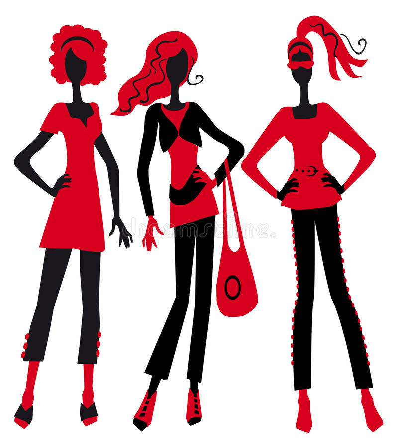 Download Three fashionable girls stock vector. Image of happy - 20783385