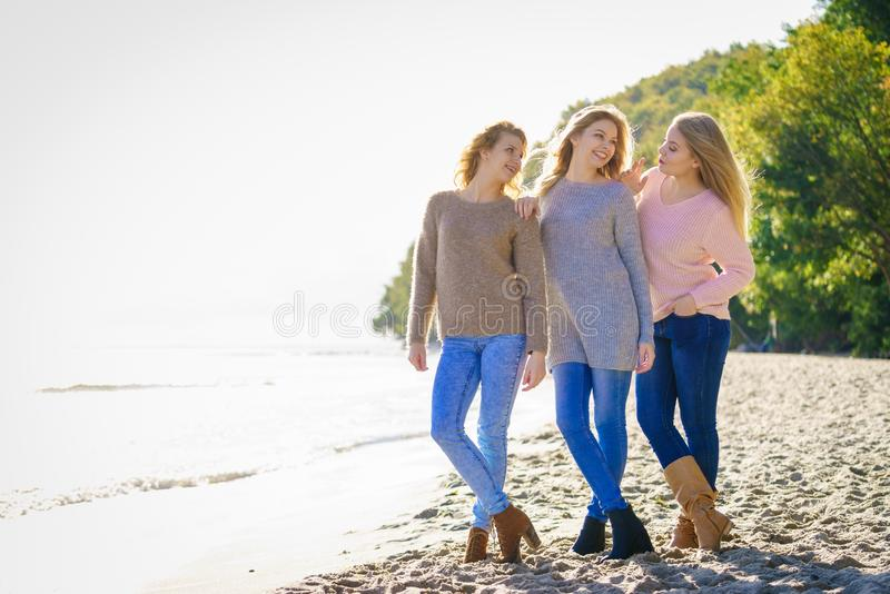 Three fashionable models outdoor stock photo
