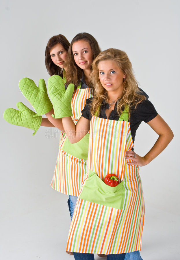 Three female cooks stock photography