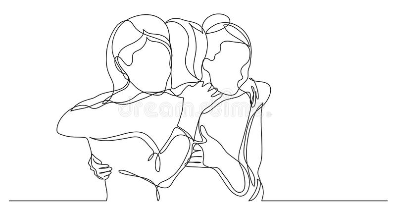 Three Female Friends Greeting Hugging Each Other One Line