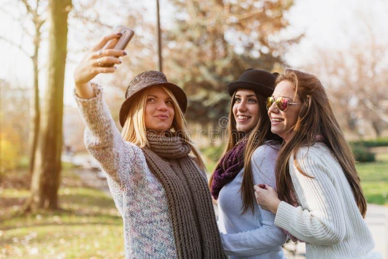 Three female friends taking selfie. Group of female students in library. Three female friends taking selfie indoors stock photo