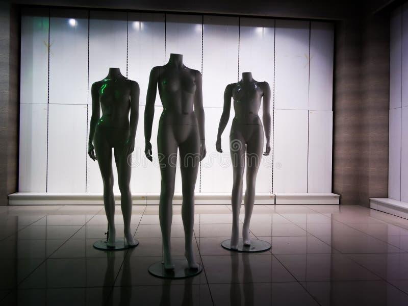 Three female plastic fiber mannequins 14 royalty free stock image