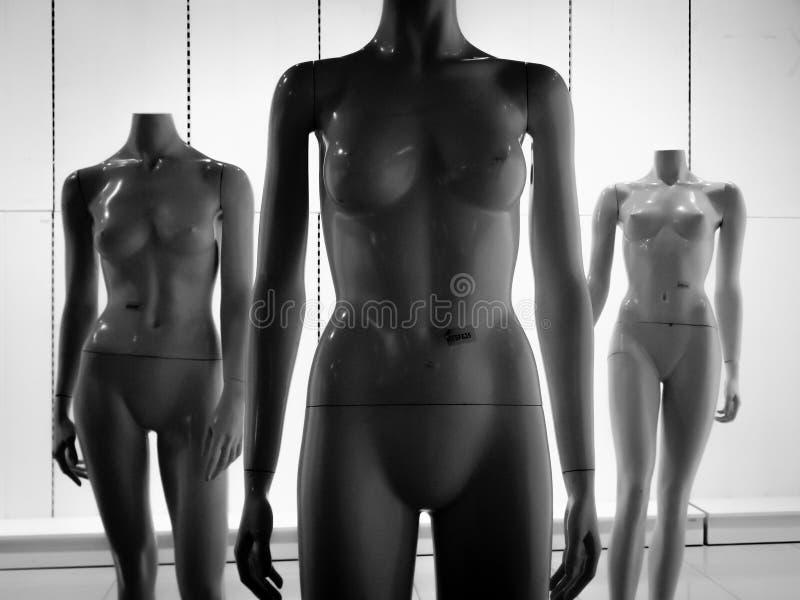 Three female plastic fiber mannequins 23 royalty free stock photography