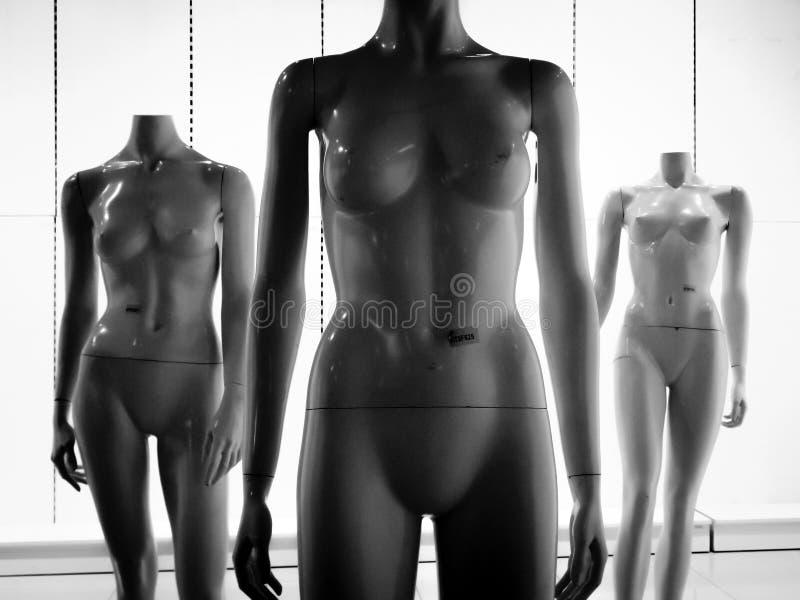 Three female plastic fiber mannequins 2 royalty free stock photo
