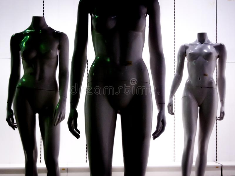 Three female plastic fiber mannequins 4 stock photography