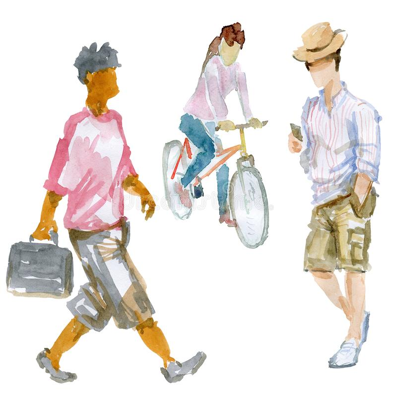 Three figures of young people stock illustration