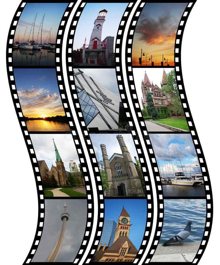 Three films with travel photos. Over white background vector illustration