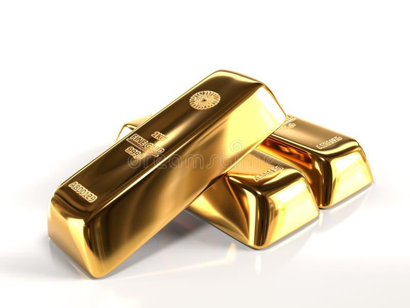 Three fine gold ingots vector illustration