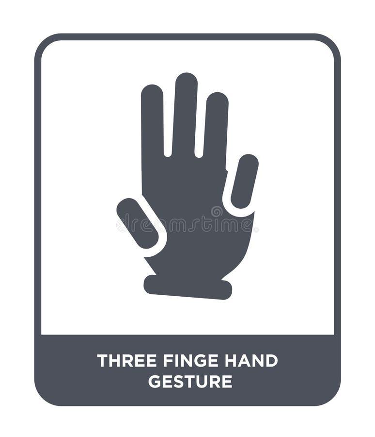 three finge hand gesture icon in trendy design style. three finge hand gesture icon isolated on white background. three finge hand royalty free illustration