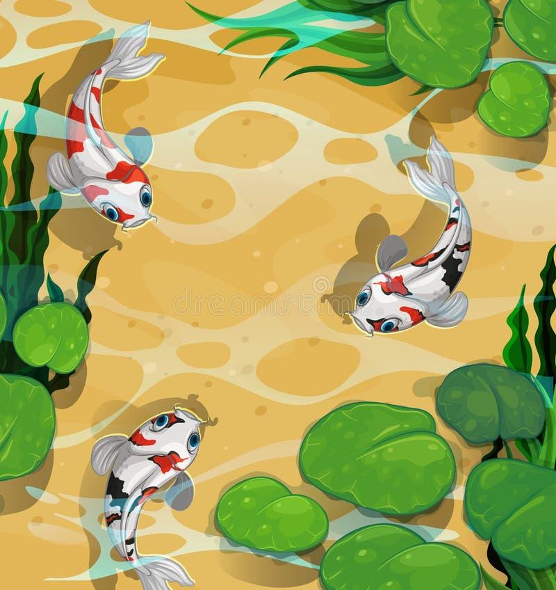 Three fish swimming in the pond. Illustration stock illustration