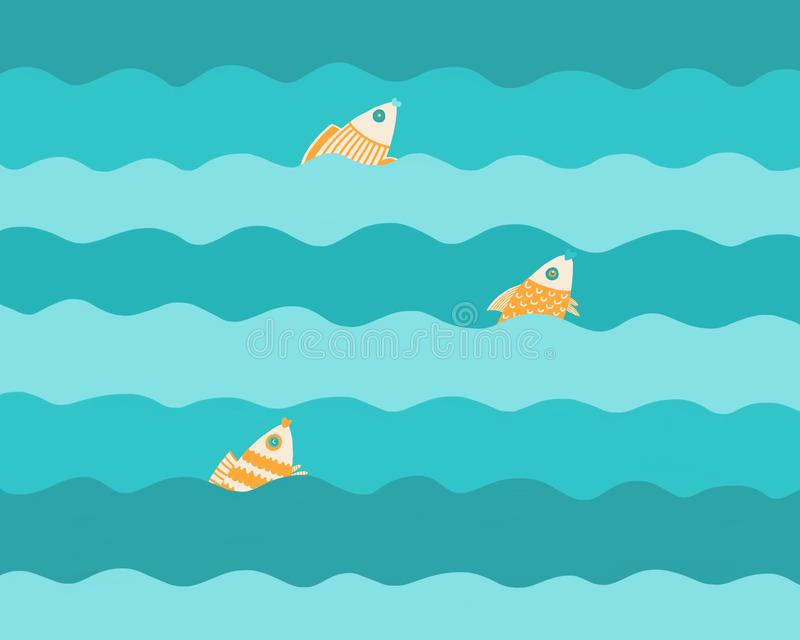 Three fishes on the waves stock photography