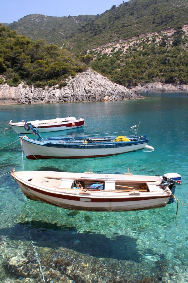 Three fishing boats. Small fishing boats anchored at Porto Vromi, Zante (Zakynthos