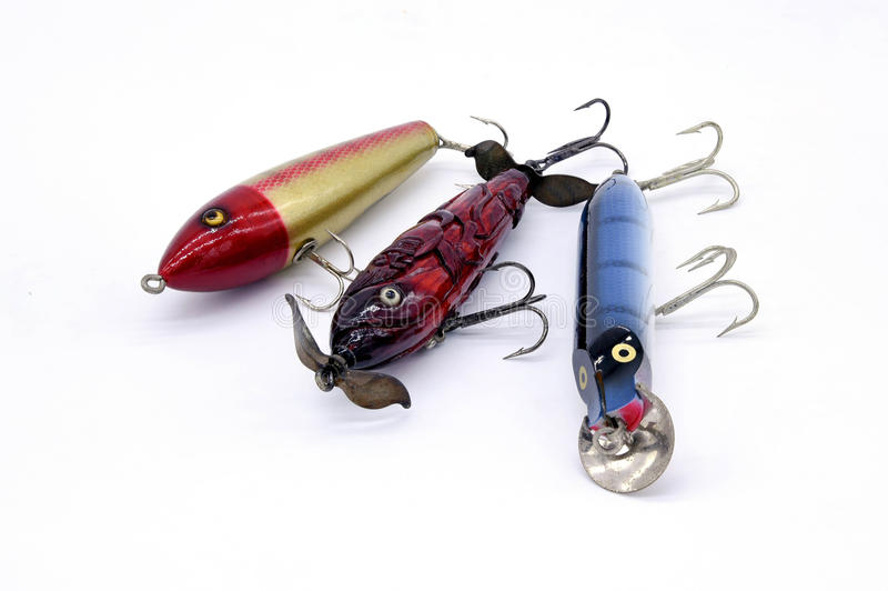 Three Fishing lure top water shallow and deep water stock images