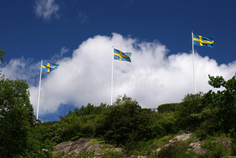 Three Flags. Three Swedish flags fluttering on the wind stock image