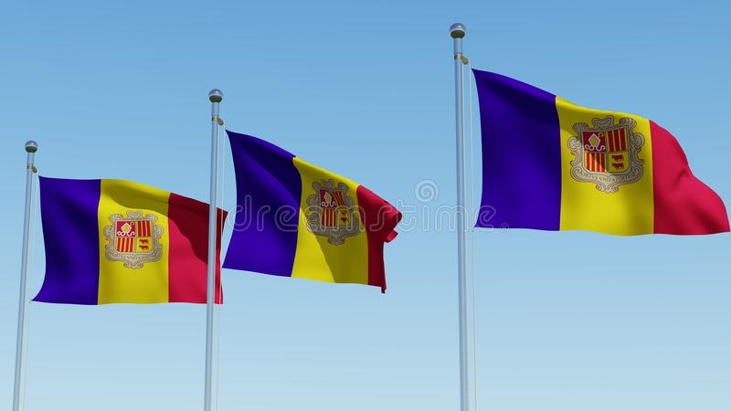 Three flags of Andorra waving in the wind against blue sky. Three dimensional rendering 3D illustration vector illustration