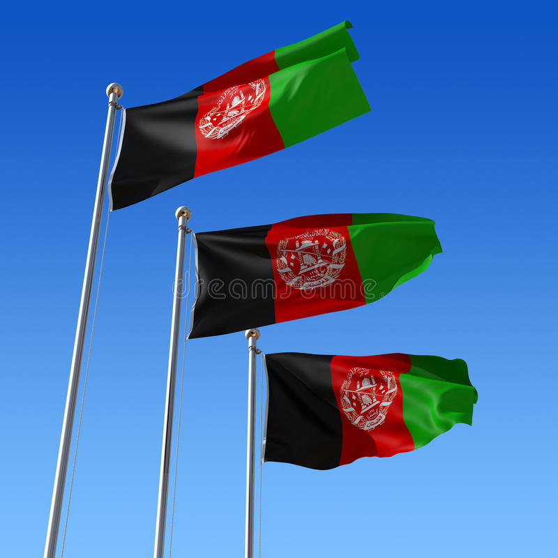 Free Three Flags Of Afghanistan Against Blue Sky. 3d Il Royalty Free Stock Photography - 18505977