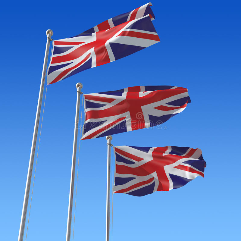 Free Three Flags Of UK Against Blue Sky. Stock Photos - 18216503