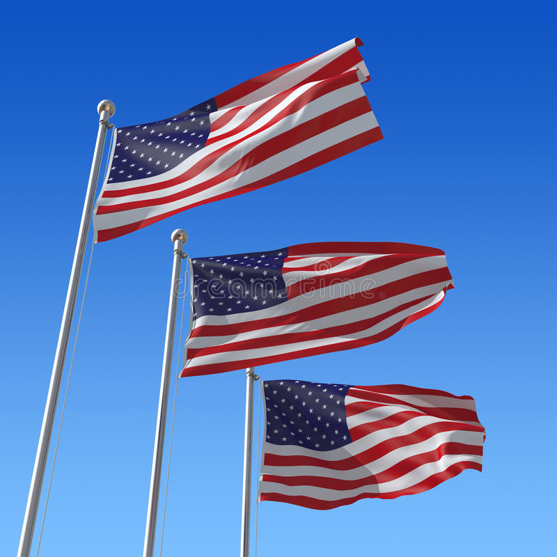 Free Three Flags Of USA Against Blue Sky. Royalty Free Stock Photos - 18216638
