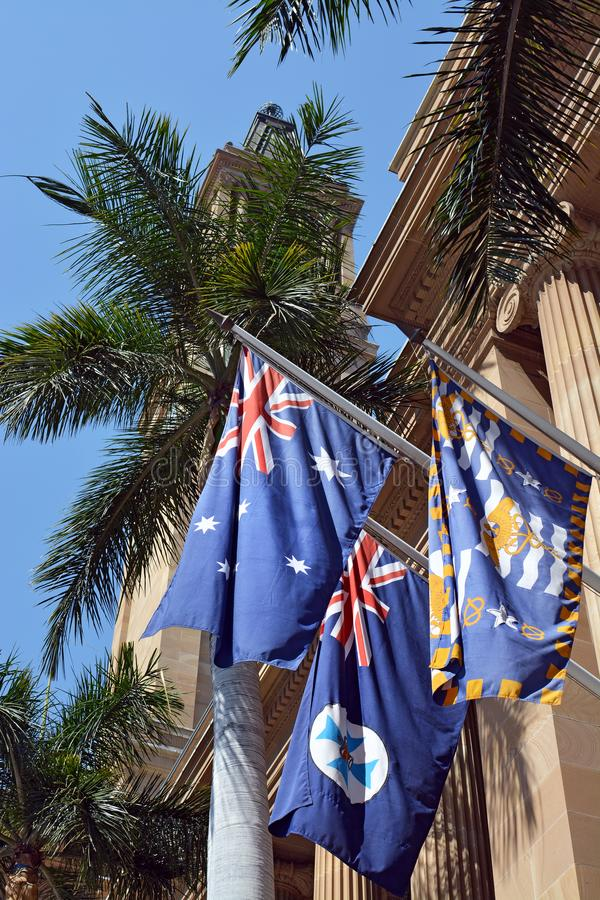 Three Flags Outside Brisbane City Hall, Queensland, Australia stock images