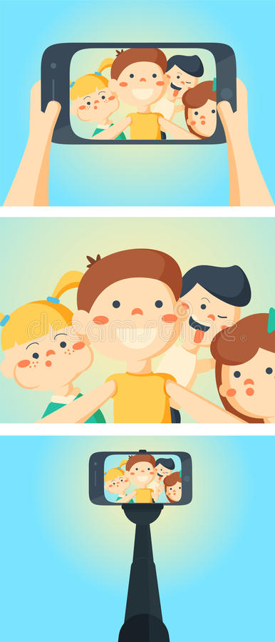 Three flat horizontal banners set abstract isolated vector illustration. Travel and party selfie with friends interactive webpage 3 flat horizontal banners set royalty free illustration
