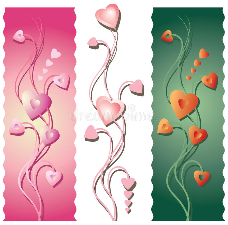 Three Floral Valentine's Borders. Three vertical floral borders or banners for Valentine's Day. Background and objects and shadows on separate layers. Contains royalty free illustration