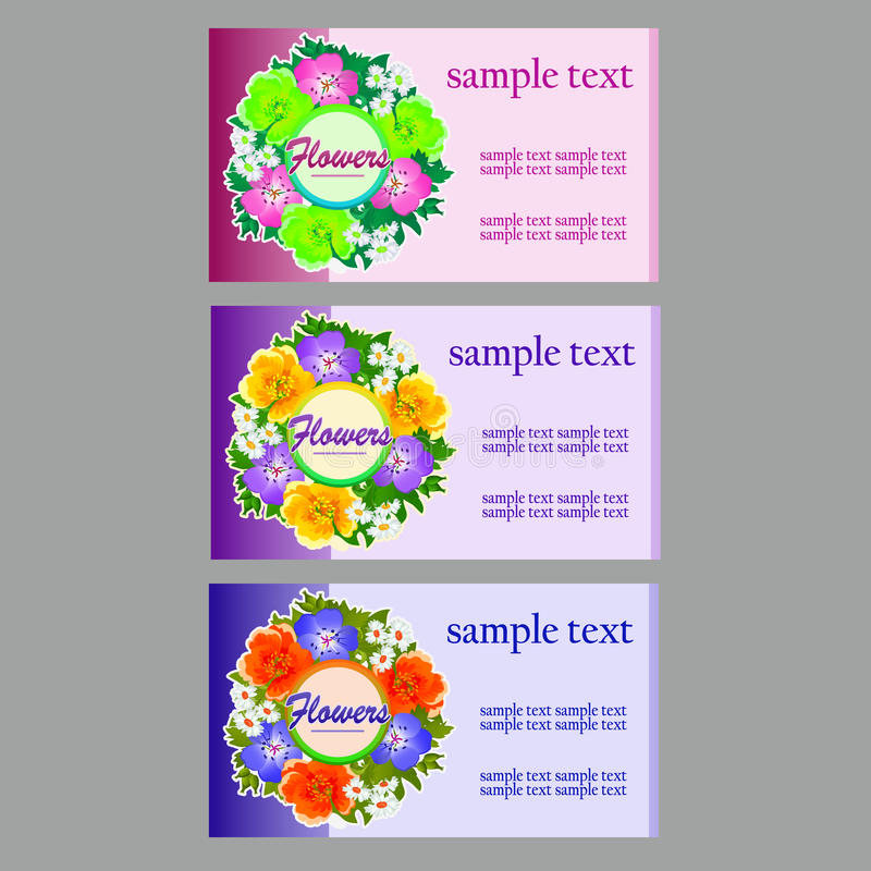 Three Flower Business Cards, Name Cards, Coupon Stock Vector ...