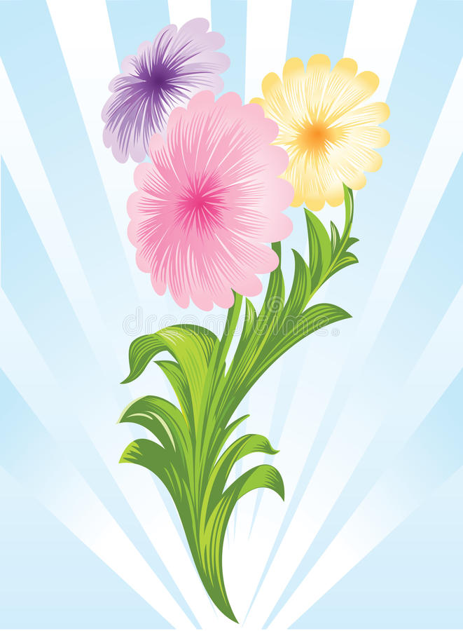 Download Three flowers stock vector. Image of blue, abstract, violet - 12845552