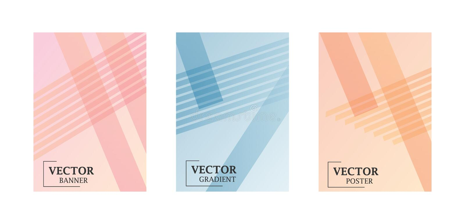 Three flyer templates in delicate pastel shades with gradient effect. Pattern with lines. royalty free illustration