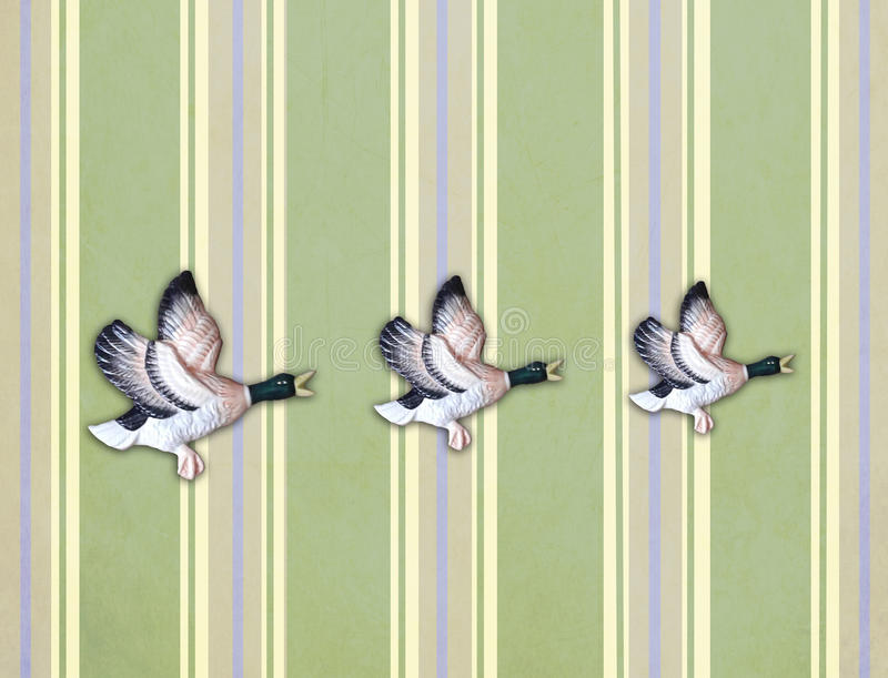 Download Three Flying Ducks On Old Wall Stock Illustration - Illustration of home, classic: 26979951