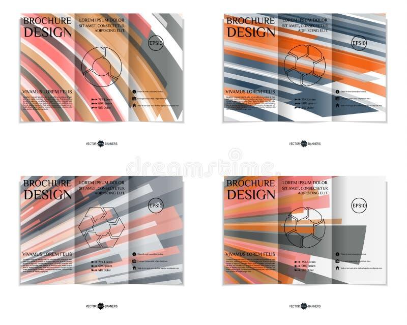 Three-fold brochure design template set. vector illustration
