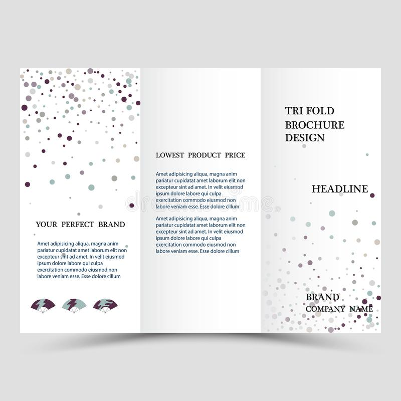 Three fold business brochure template, corporate flyer or cover design in blue colors. royalty free illustration